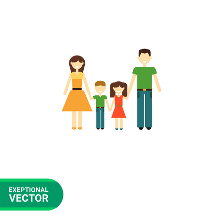 consisting: Icon of traditional family consisting of man, woman and two children
