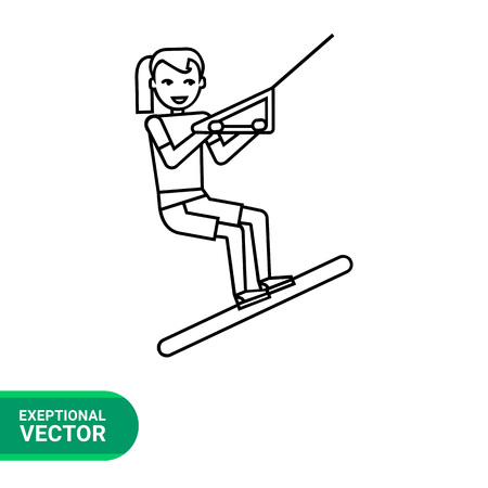 water skier: Female water skier line icon. Vector illustration of young girl waterskiing
