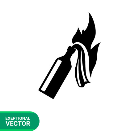 Fire cocktail flat icon. Vector illustration of Molotov cocktail