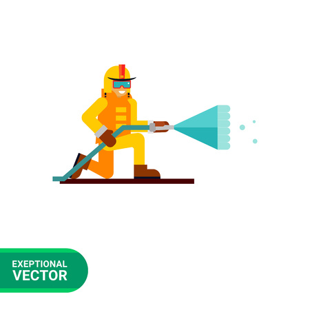 extinguishing: Multicolored vector icon of firefighter extinguishing fire Illustration