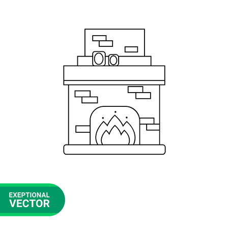 fire brick: Monochrome vector icon of brick fireplace with chimney, burning fire and photo frames on it Illustration