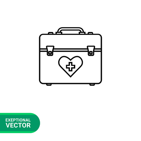 medical case: First aid case vector icon. Line illustration of doctors bag with heart and medical cross