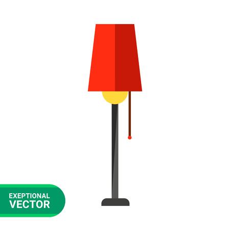lampshade: Multicolored vector icon of floor lamp with red lampshade