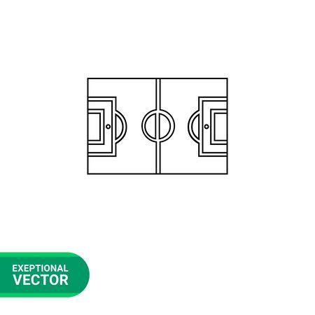 touchline: Football field flat icon. Vector illustration of football field plan Illustration