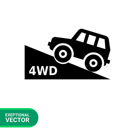 moving up: Vector icon of four wheel drive car moving up hill Illustration