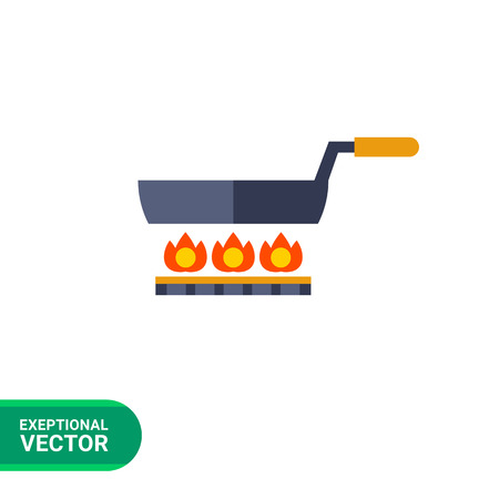 sizzling: Multicolored vector icon of frying pan standing on gas cooker Illustration