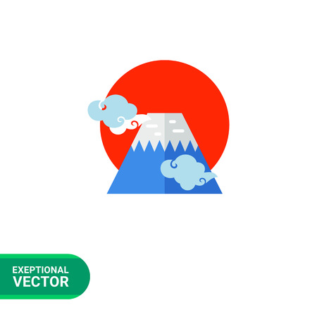 fuji mountain: Image of blue Fuji mountain with light blue clouds around and big red sun behind it