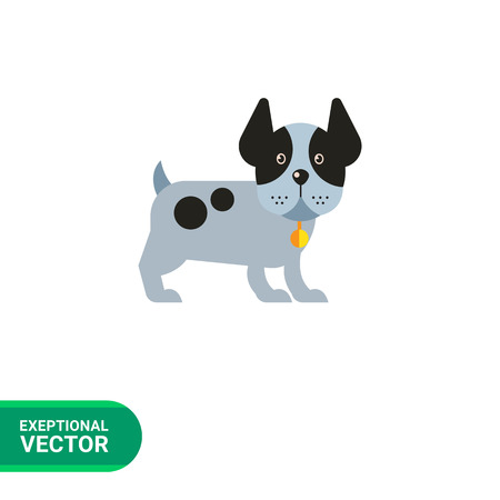 dog ears: Multicolored vector icon of funny dog standing with its ears up