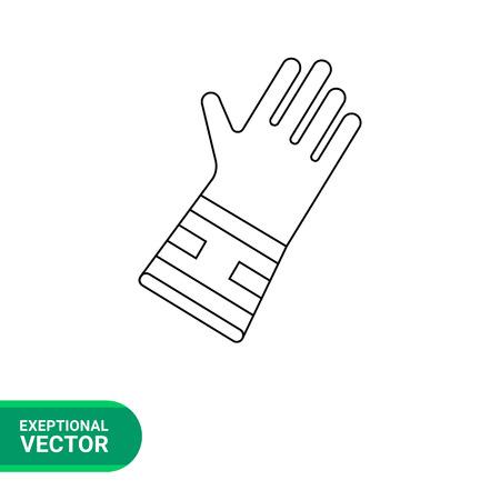cuffs: Garden glove line icon. Vector illustration of special glove for gardening