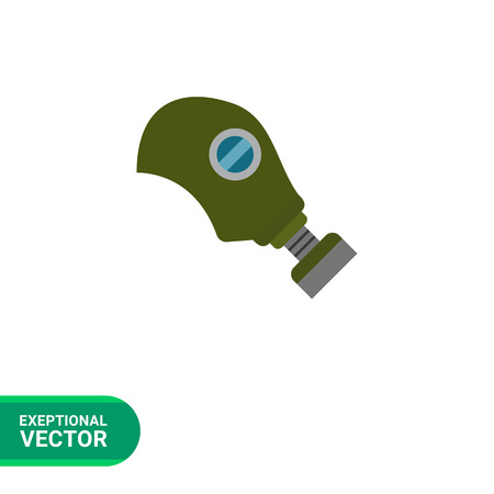 army gas mask: Multicolored vector icon of army gas mask