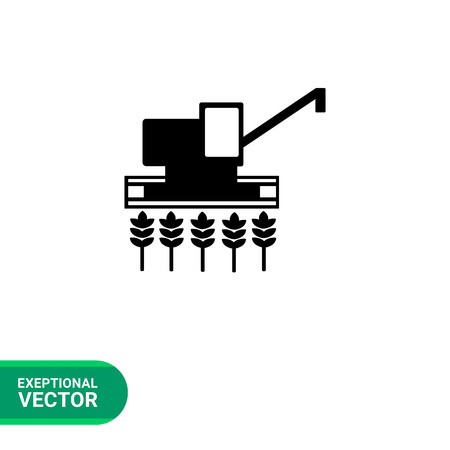 reaping: Monochrome vector icon of combine harvester gathering crop on field