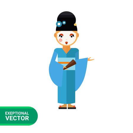 geisha kimono: Multicolored vector icon of young geisha wearing blue kimono and holding fan