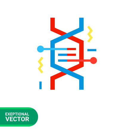 fragment: Multicolored vector icon of DNA fragment representing genetics concept