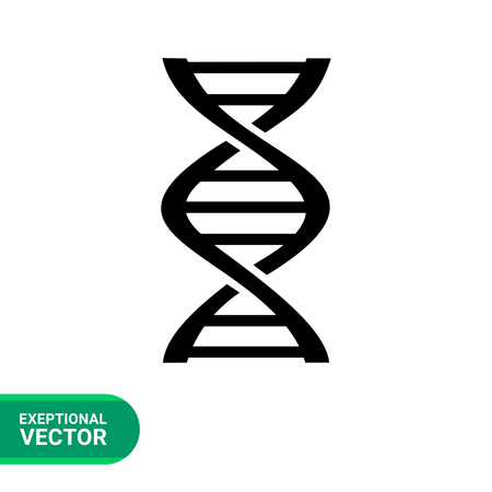 Monochrome vector icon of DNA fragment representing genetics concept