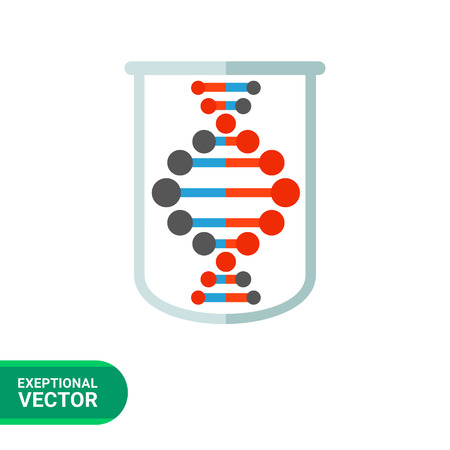 Genome icon. Multicolored vector illustration of genome in tube