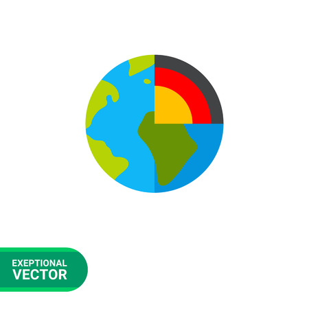 geology: Multicolored vector icon of earth planet cutaway representing geology concept