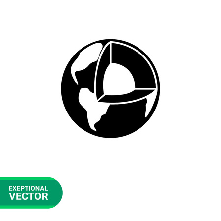 geology: Monochrome vector icon of earth planet cutaway representing geology