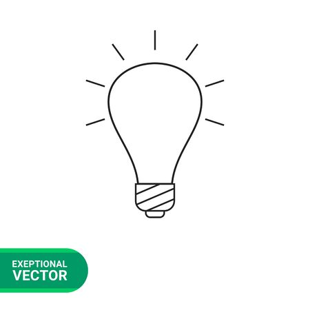 Line icon of glowing bulb
