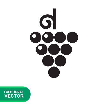 stem: Vector icon of grape bunch on stem