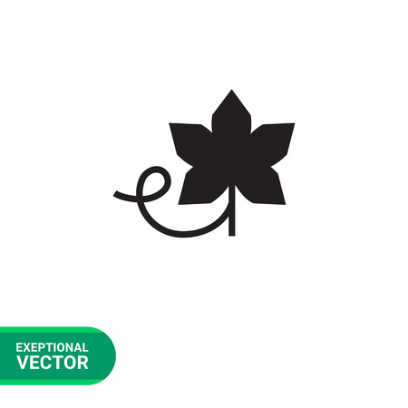 viticulture: Vector icon of grape leaf with vine