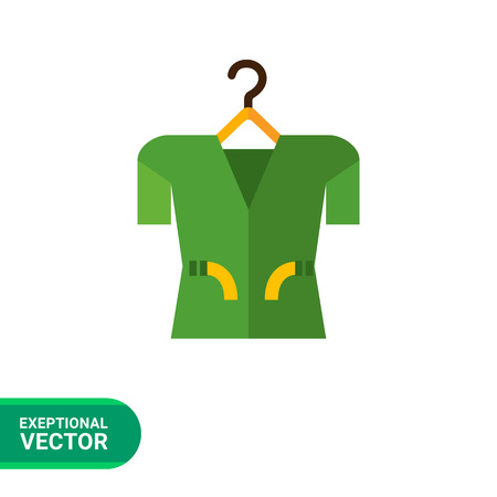 spring coat: Multicolored vector icon of clothing item on clothes hanger, isolated on white Illustration