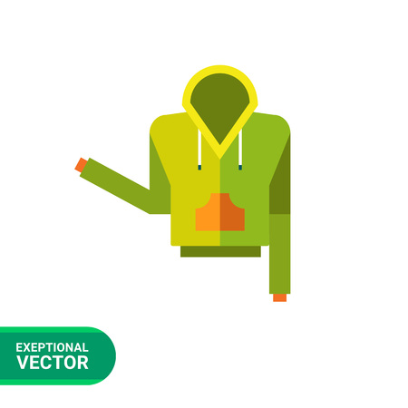 hoody: Multicolored vector icon of green hoody with orange pocket Illustration