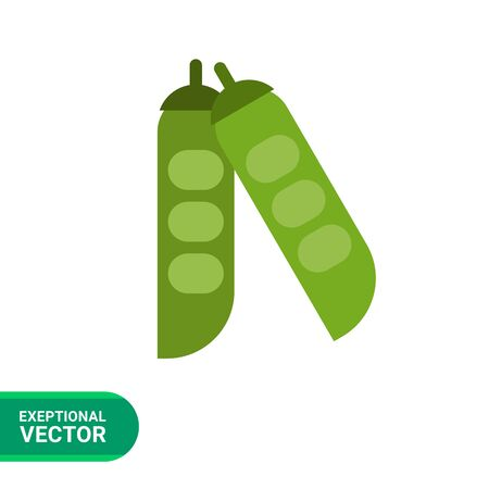 green bean: Vector icon of green peas in pea pods