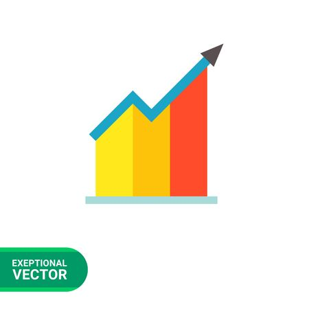 uptrend: Vector icon of growing bar chart with arrow