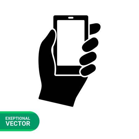 smartphone hand: Monochrome vector icon of hand holding smartphone Illustration