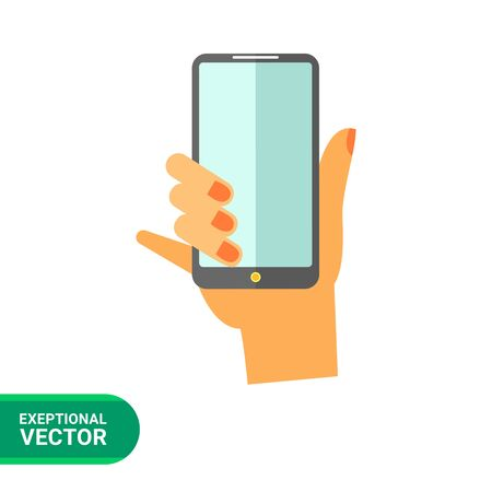 smartphone hand: Hand with smartphone vector icon. Multicolored illustration of hand holding smartphone