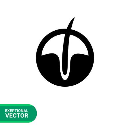 follicle: Vector icon of hair follicle in circle Illustration