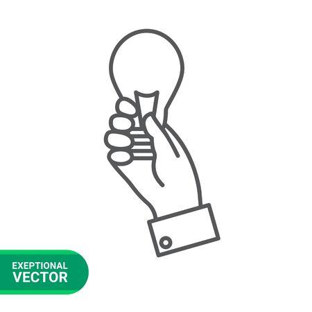 man holding transparent: Icon of man hand holding lightbulb