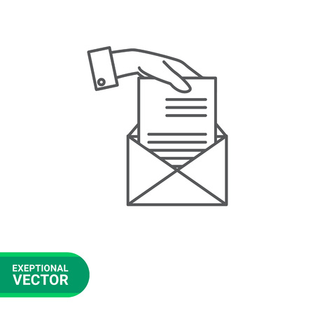 Icon of man hand putting sheet of paper into envelope Ilustração