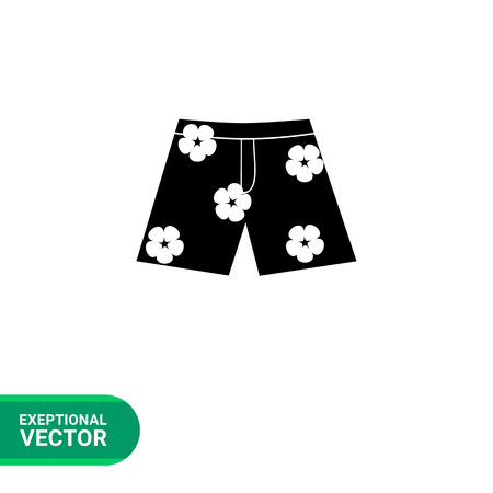 spend the summer: Monochrome vector icon of Hawaiian shorts with flower print