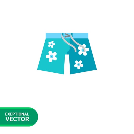 oahu: Hawaiian shorts flat icon. Multicolored vector illustration of shorts with floral pattern