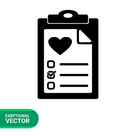 test results: Health test simple icon. Black and white vector illustration of document with health test results