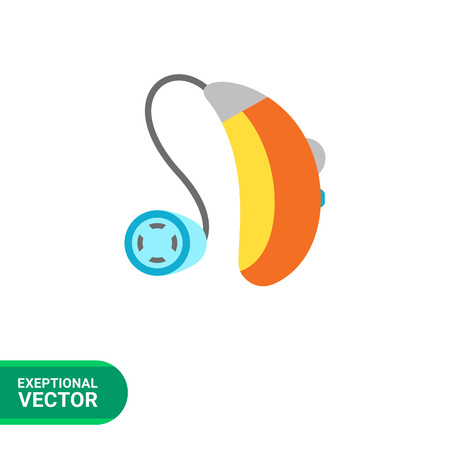 hearing aid: Multicolored flat icon of hearing aid apparatus