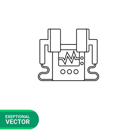 first rate: Heart defibrillator vector icon. Line illustration of equipment for resuscitation shock Illustration