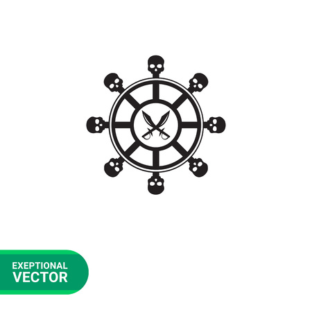 navigating: Helm of pirate ship simple icon. Black illustration of steering wheel with skull elements and crossed pirate daggers