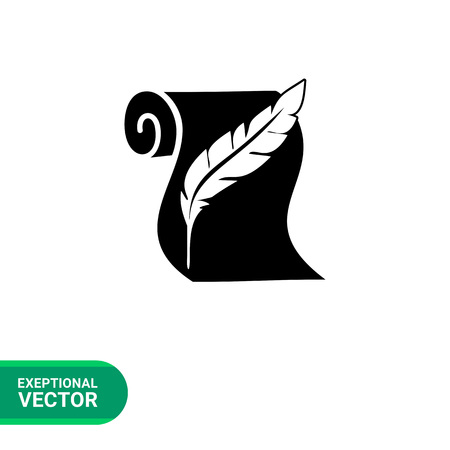 annals: Monochrome vector icon of paper scroll and quill representing history Illustration