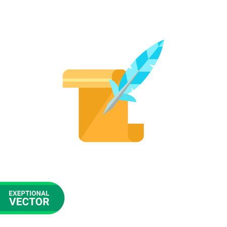 paper scroll: Multicolored vector icon of paper scroll and quill representing history