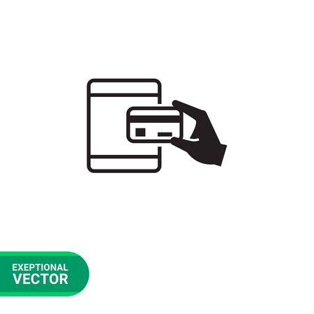 holding credit card: Vector icon of human hand holding credit card at ATM