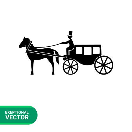 Monochrome vector icon of horse coach with coachman