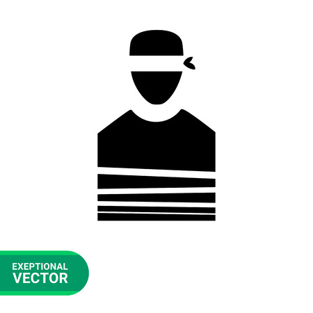 blindfold: Hostage flat icon. Vector minimalistic illustration of tied person with blindfold