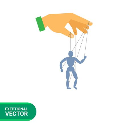 puppet master: Vector icon of human hand with marionette puppet Illustration