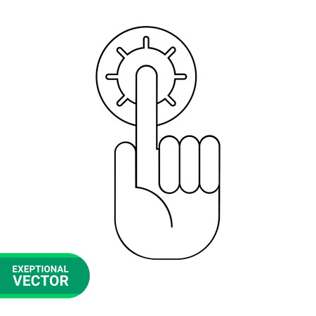 human finger: Vector icon of human hand with extended index finger with halo representing idea concept Illustration