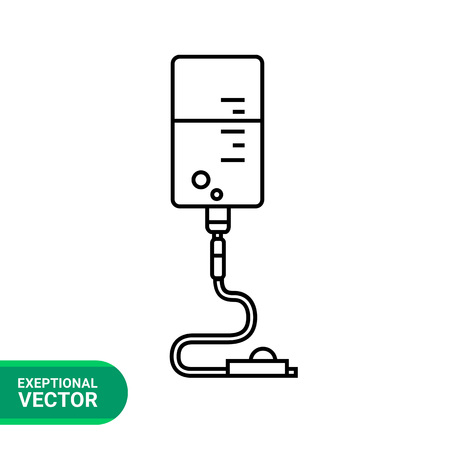 clamp: Infusion drip icon. Line illustration of intravenous infusion set with drip chamber, tube and roller clamp Illustration
