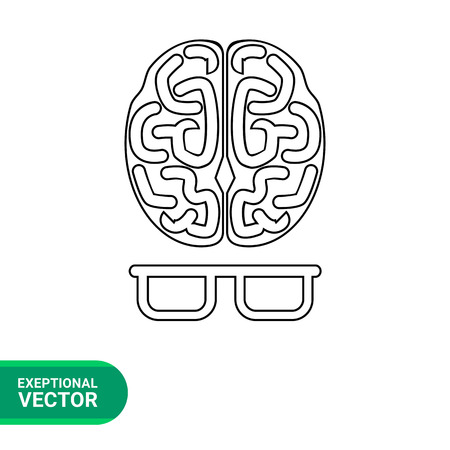 comprehension: Vector icon of human brain and glasses representing intelligence concept