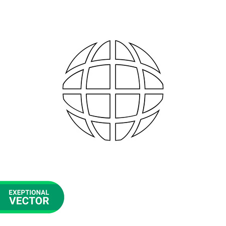 latitude: Vector line icon of globe with longitude and latitude lines representing internet concept