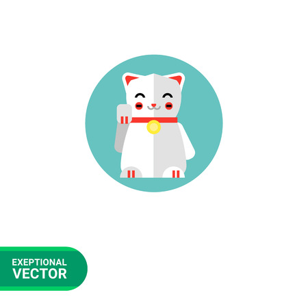 lucky cat: Multicolored vector icon of Japanese lucky cat icon